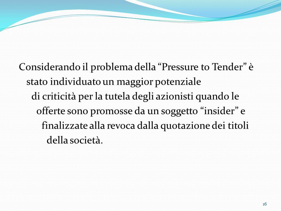 Considerando il problema della Pressure to Tender è
