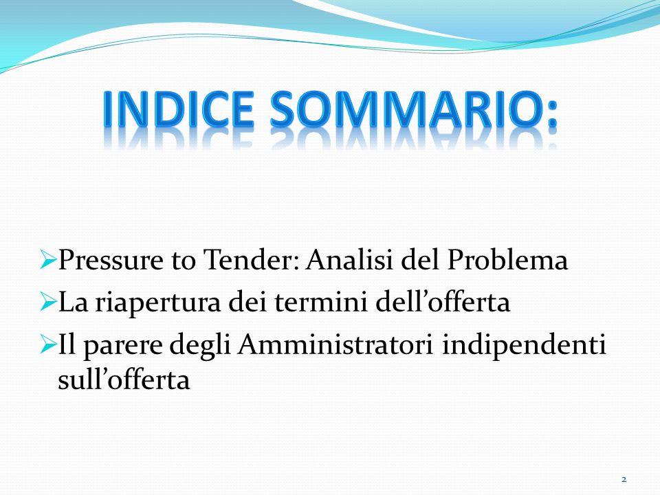 INDICE SOMMARIO: Pressure to Tender: Analisi del Problema
