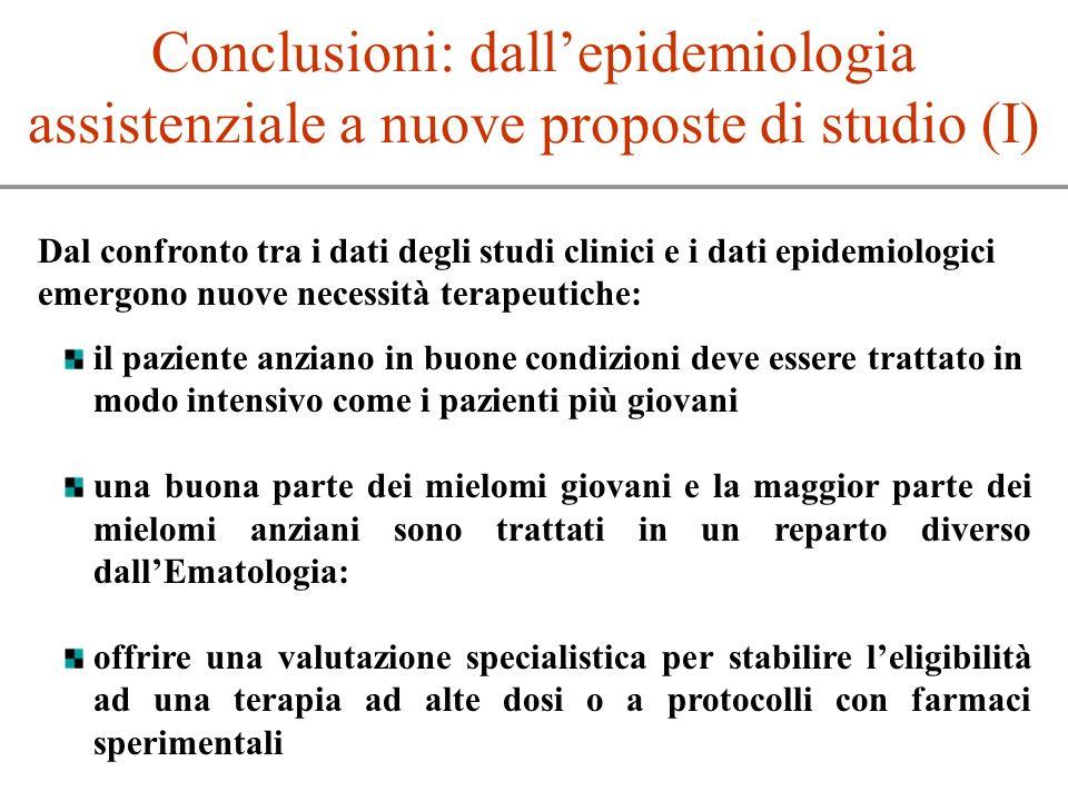 Conclusioni: dall'epidemiologia assistenziale a nuove proposte di studio (I)