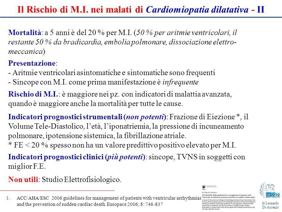 Il Rischio di M.I. nei malati di Cardiomiopatia dilatativa - II