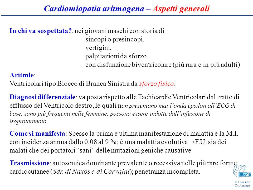 Cardiomiopatia aritmogena – Aspetti generali