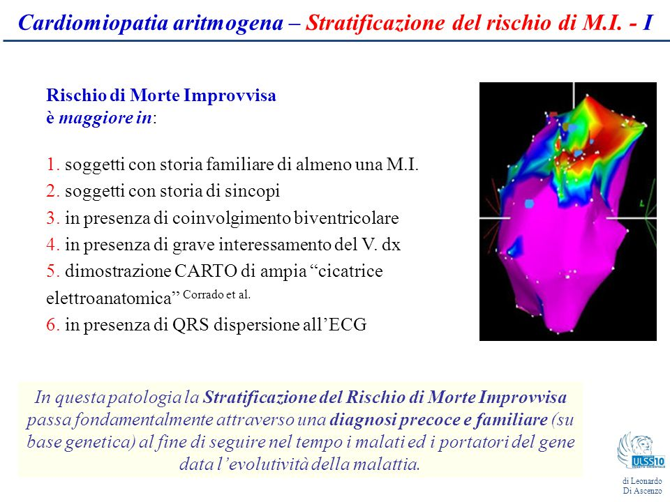 Cardiomiopatia aritmogena – Stratificazione del rischio di M.I. - I