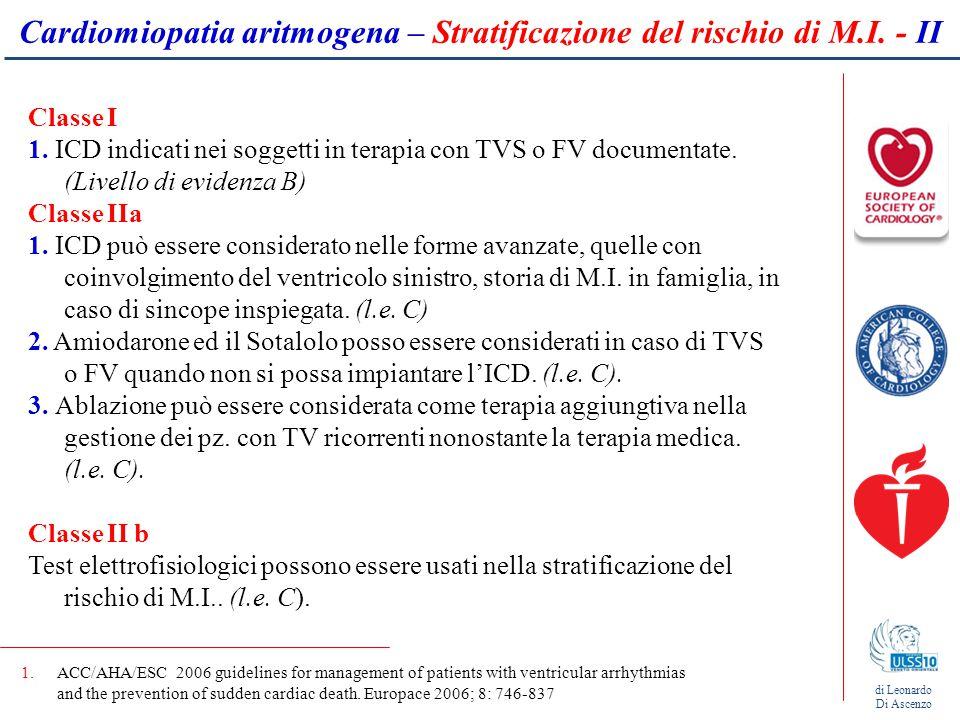 Cardiomiopatia aritmogena – Stratificazione del rischio di M.I. - II