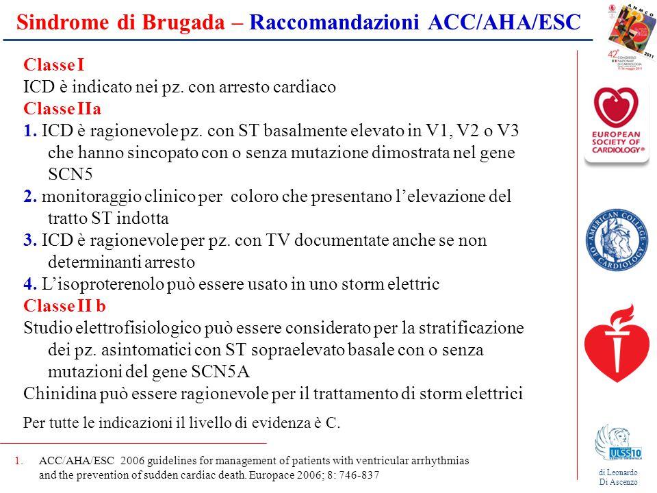 Sindrome di Brugada – Raccomandazioni ACC/AHA/ESC
