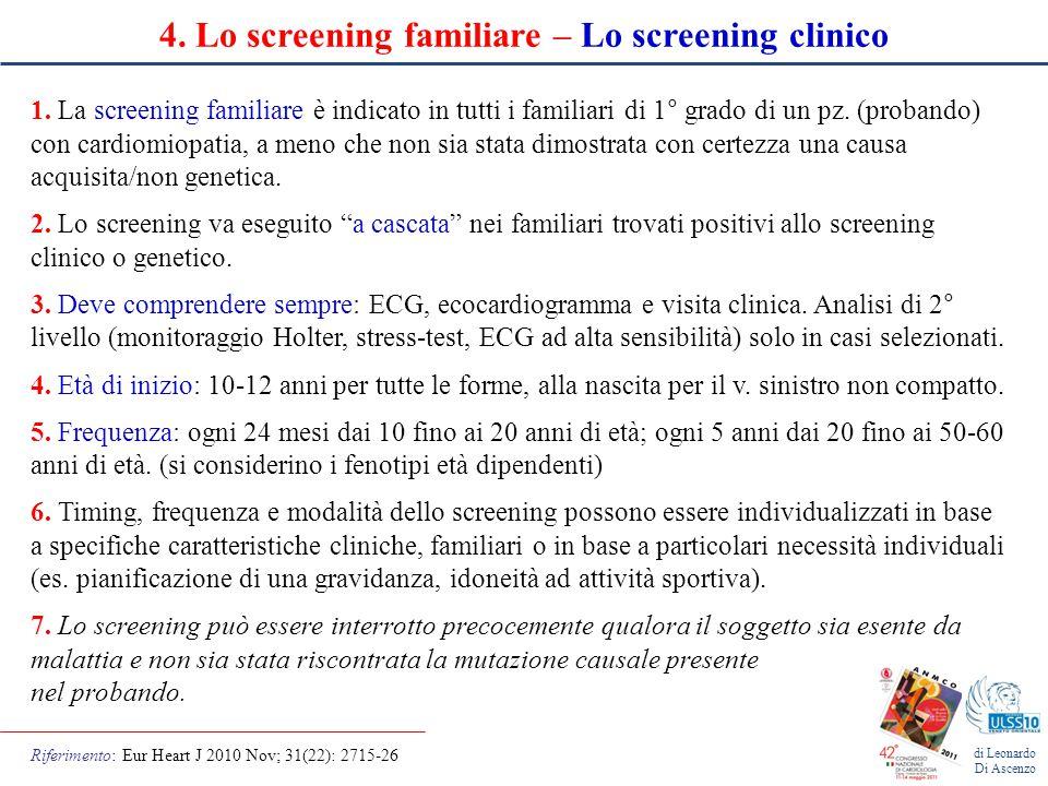 4. Lo screening familiare – Lo screening clinico
