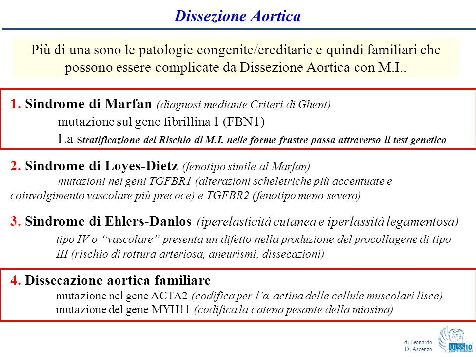Dissezione Aortica Più di una sono le patologie congenite/ereditarie e quindi familiari che possono essere complicate da Dissezione Aortica con M.I..
