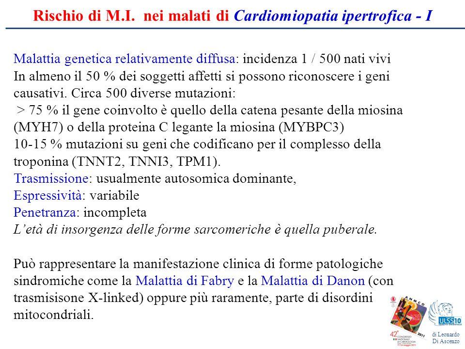 Rischio di M.I. nei malati di Cardiomiopatia ipertrofica - I