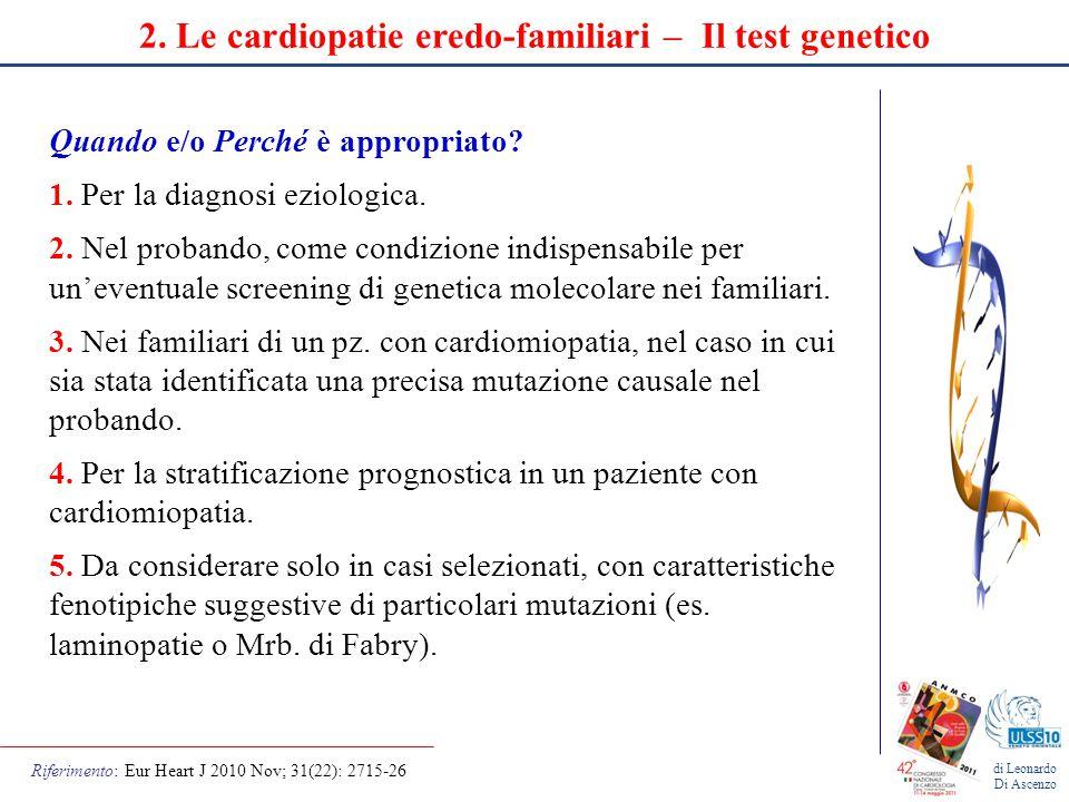 2. Le cardiopatie eredo-familiari – Il test genetico