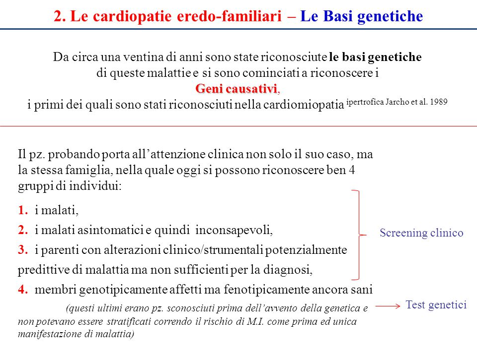 2. Le cardiopatie eredo-familiari – Le Basi genetiche