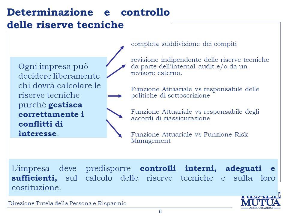 Determinazione e controllo delle riserve tecniche