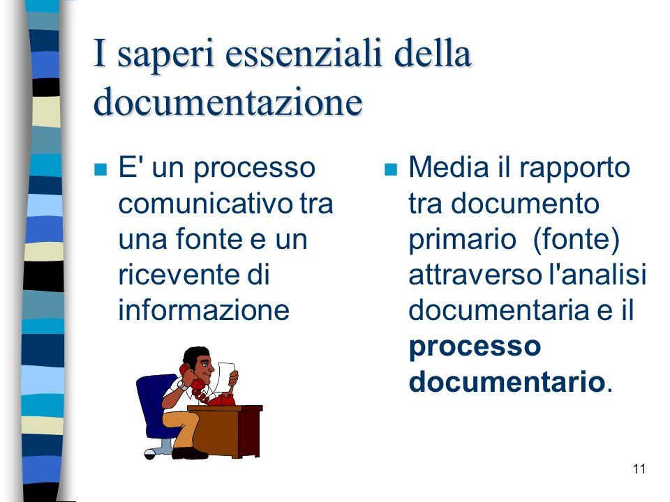 I saperi essenziali della documentazione