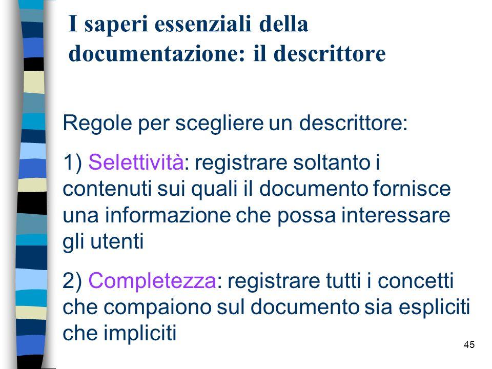 I saperi essenziali della documentazione: il descrittore