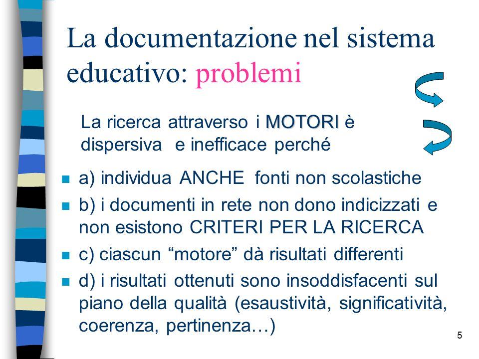 La documentazione nel sistema educativo: problemi