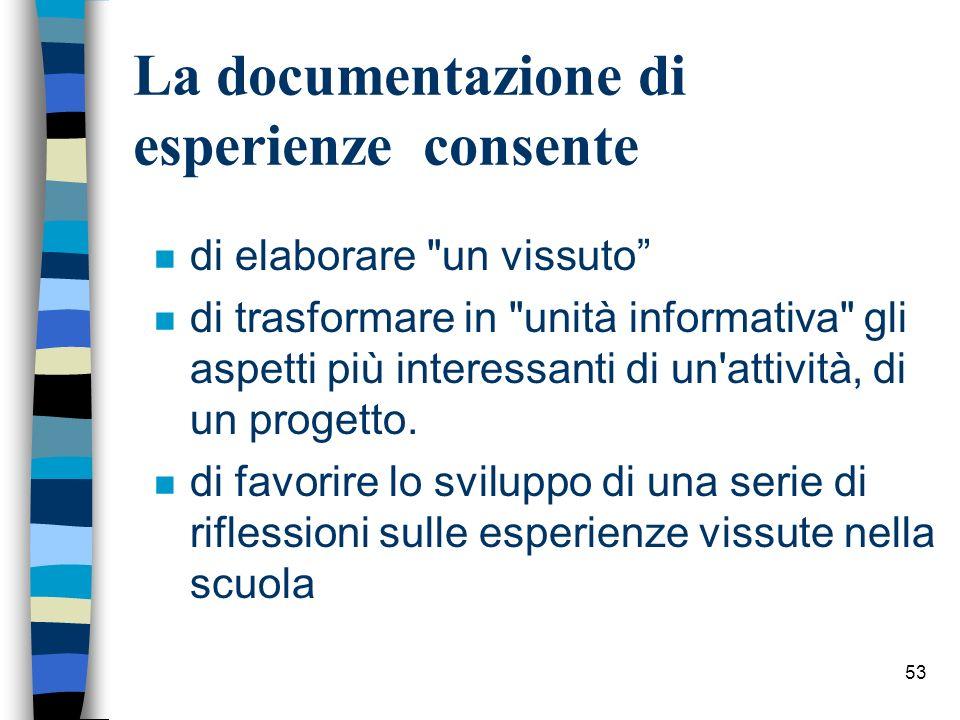 La documentazione di esperienze consente
