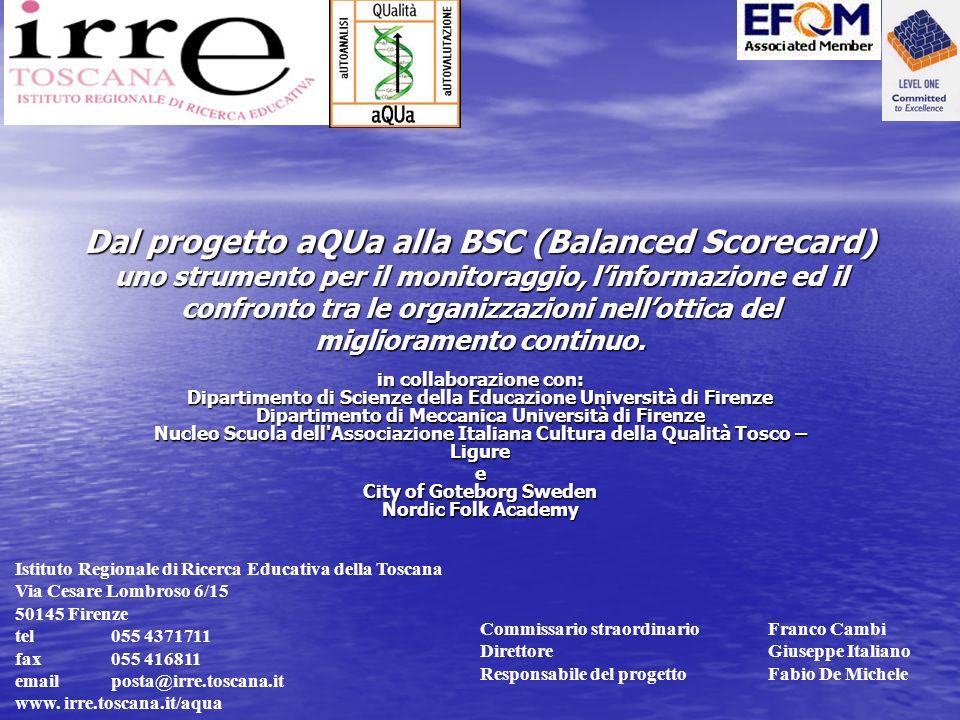 Dal progetto aQUa alla BSC (Balanced Scorecard) uno strumento per il monitoraggio, l'informazione ed il confronto tra le organizzazioni nell'ottica del miglioramento continuo.
