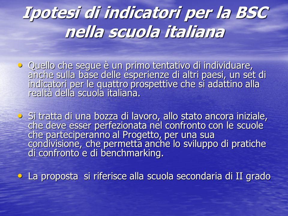 Ipotesi di indicatori per la BSC nella scuola italiana