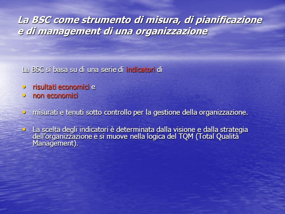 La BSC come strumento di misura, di pianificazione e di management di una organizzazione