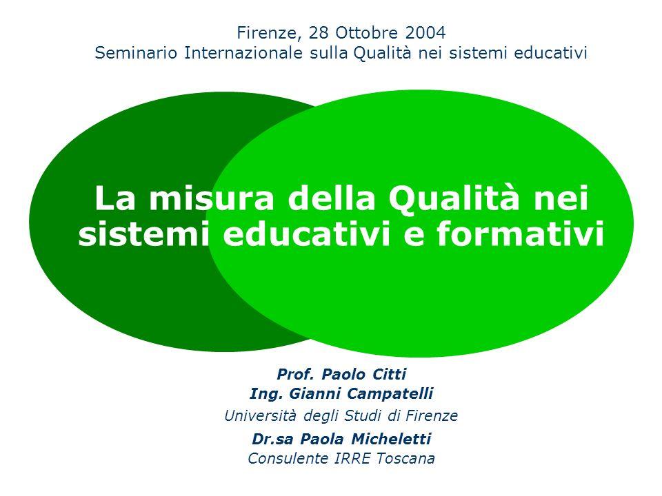 La misura della Qualità nei sistemi educativi e formativi