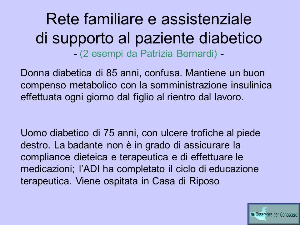 Rete familiare e assistenziale di supporto al paziente diabetico - (2 esempi da Patrizia Bernardi) -