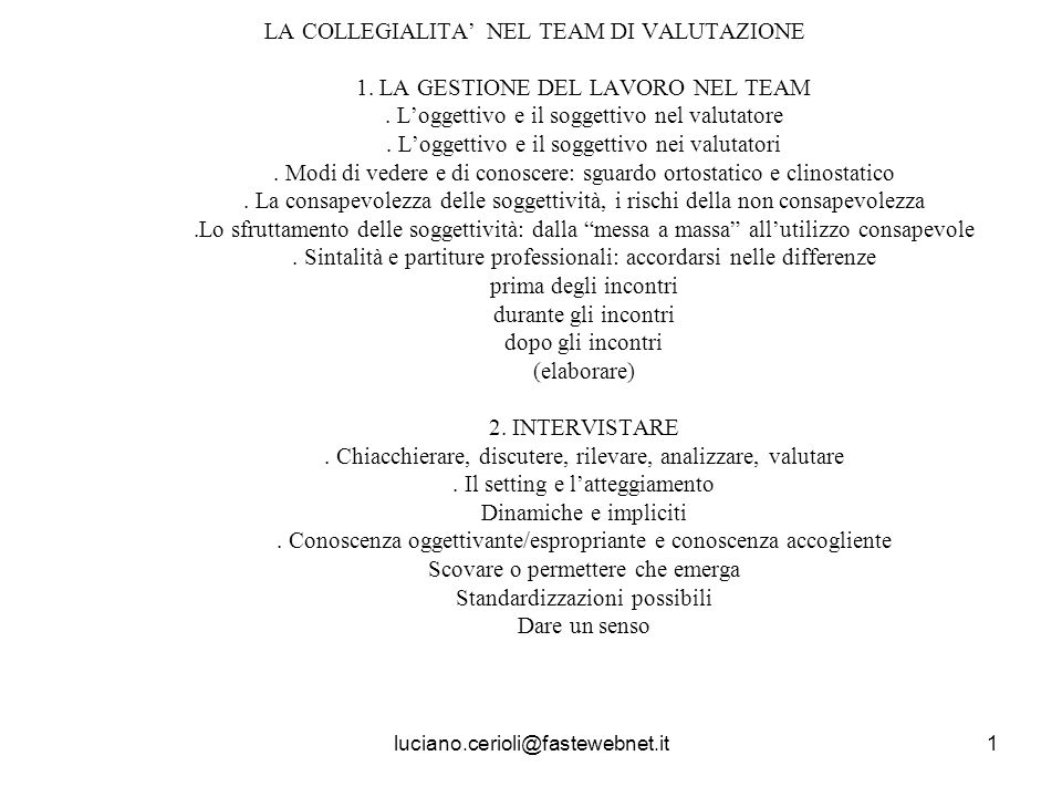 LA COLLEGIALITA' NEL TEAM DI VALUTAZIONE 1