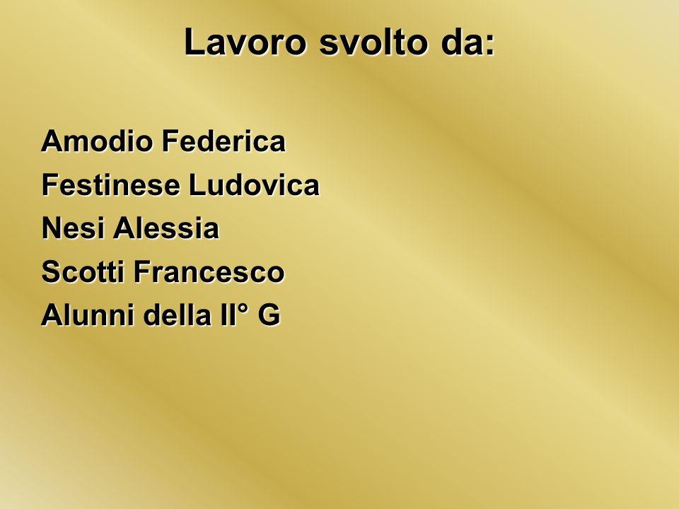 Lavoro svolto da: Amodio Federica Festinese Ludovica Nesi Alessia