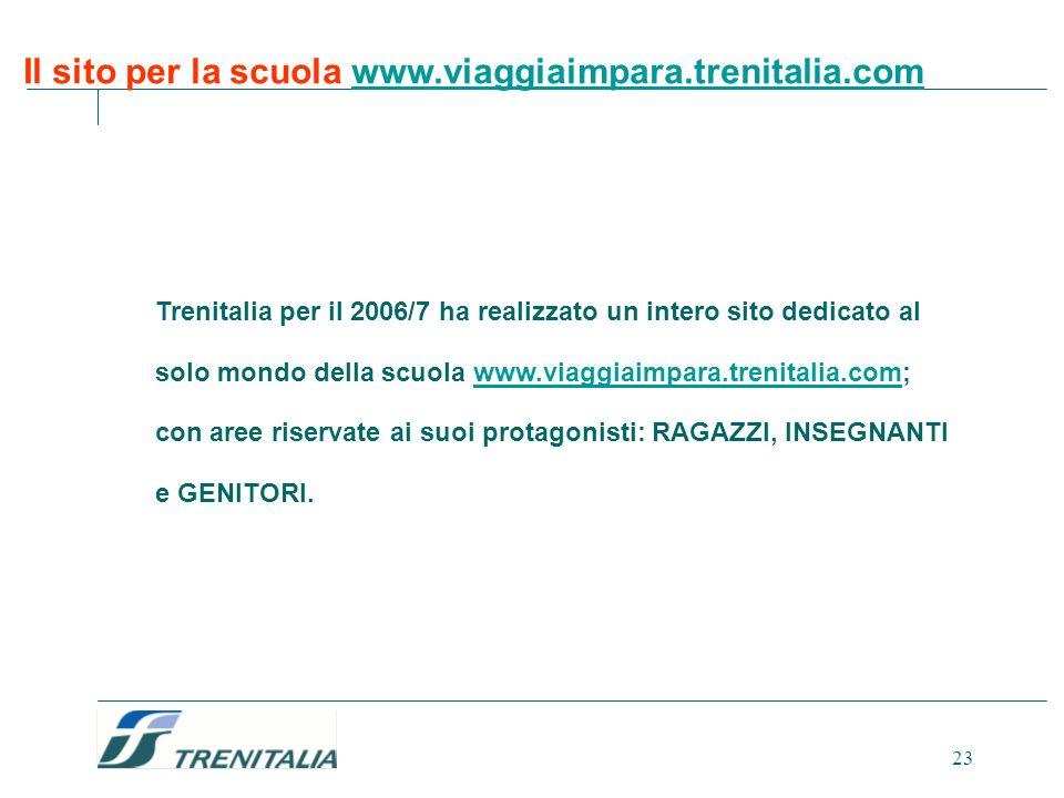 Il sito per la scuola www.viaggiaimpara.trenitalia.com