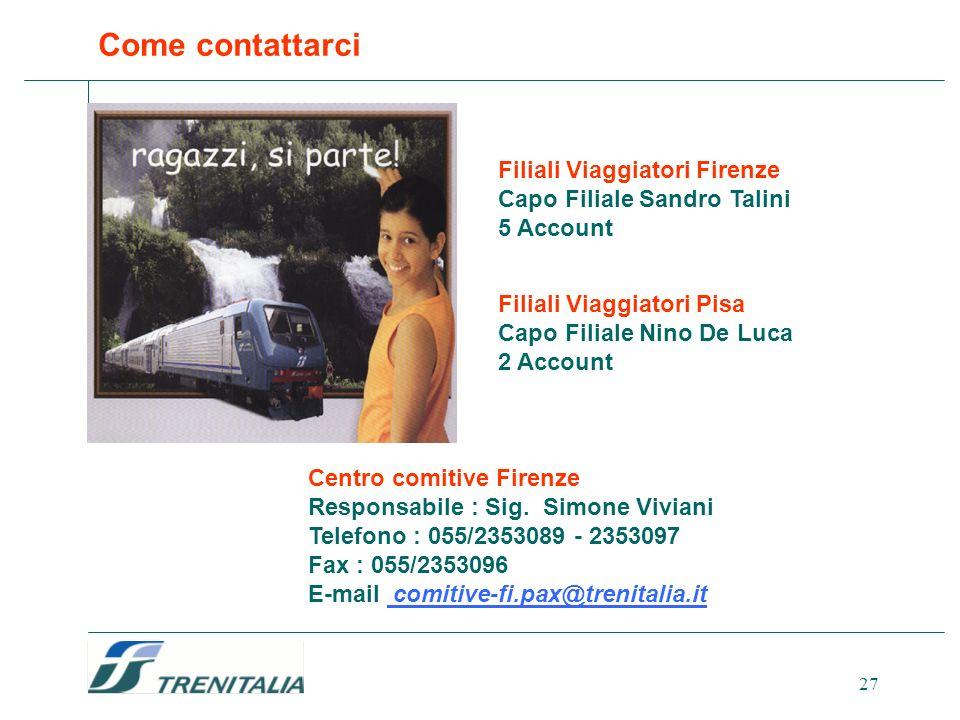 Come contattarci Filiali Viaggiatori Firenze