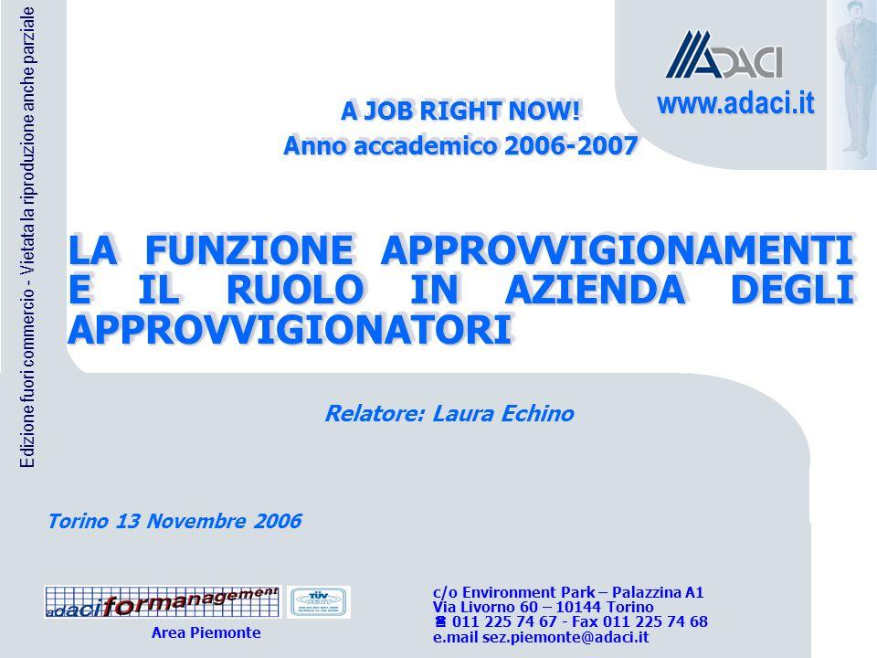 A JOB RIGHT NOW! Anno accademico 2006-2007. LA FUNZIONE APPROVVIGIONAMENTI E IL RUOLO IN AZIENDA DEGLI APPROVVIGIONATORI.