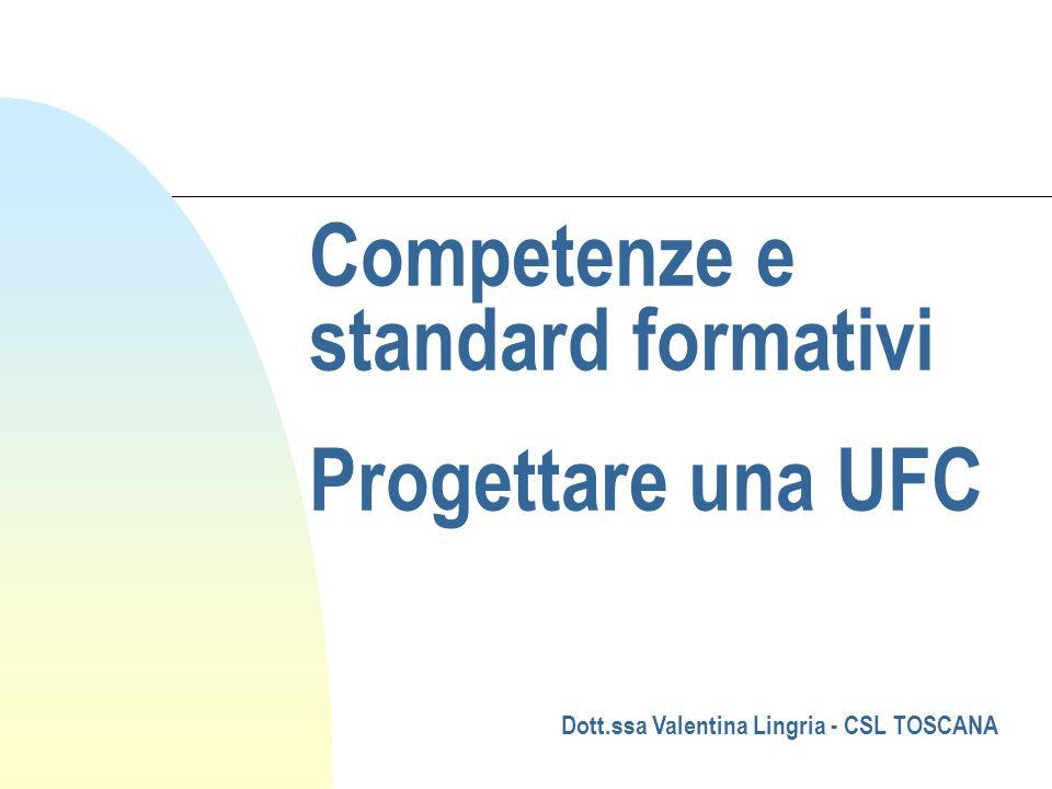 Competenze e standard formativi Progettare una UFC