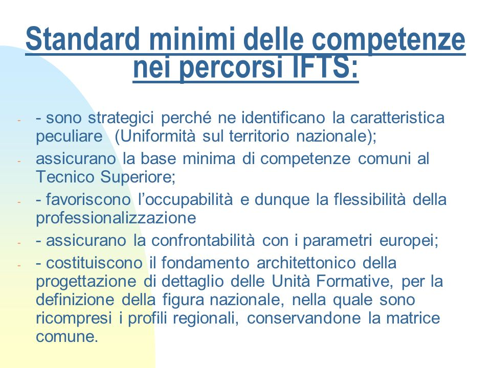 Standard minimi delle competenze nei percorsi IFTS: