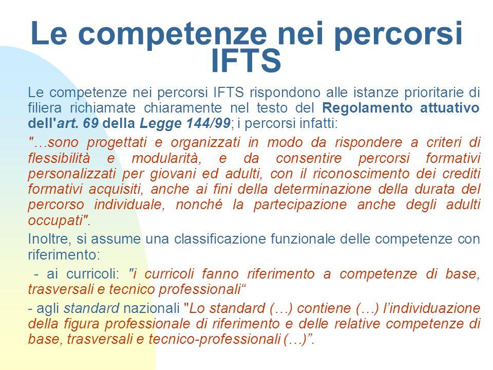 Le competenze nei percorsi IFTS