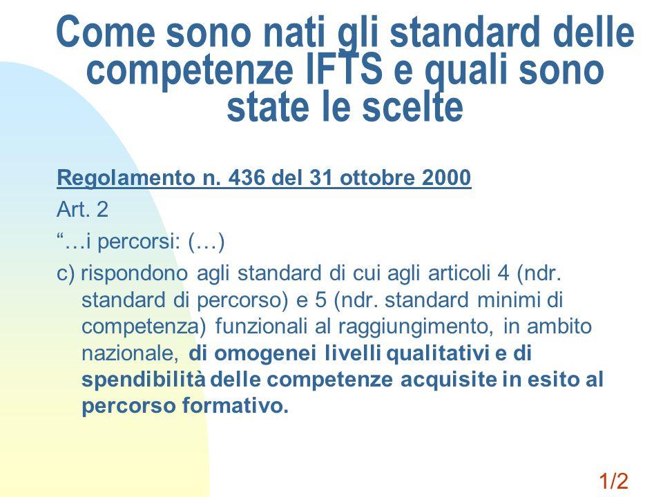Come sono nati gli standard delle competenze IFTS e quali sono state le scelte