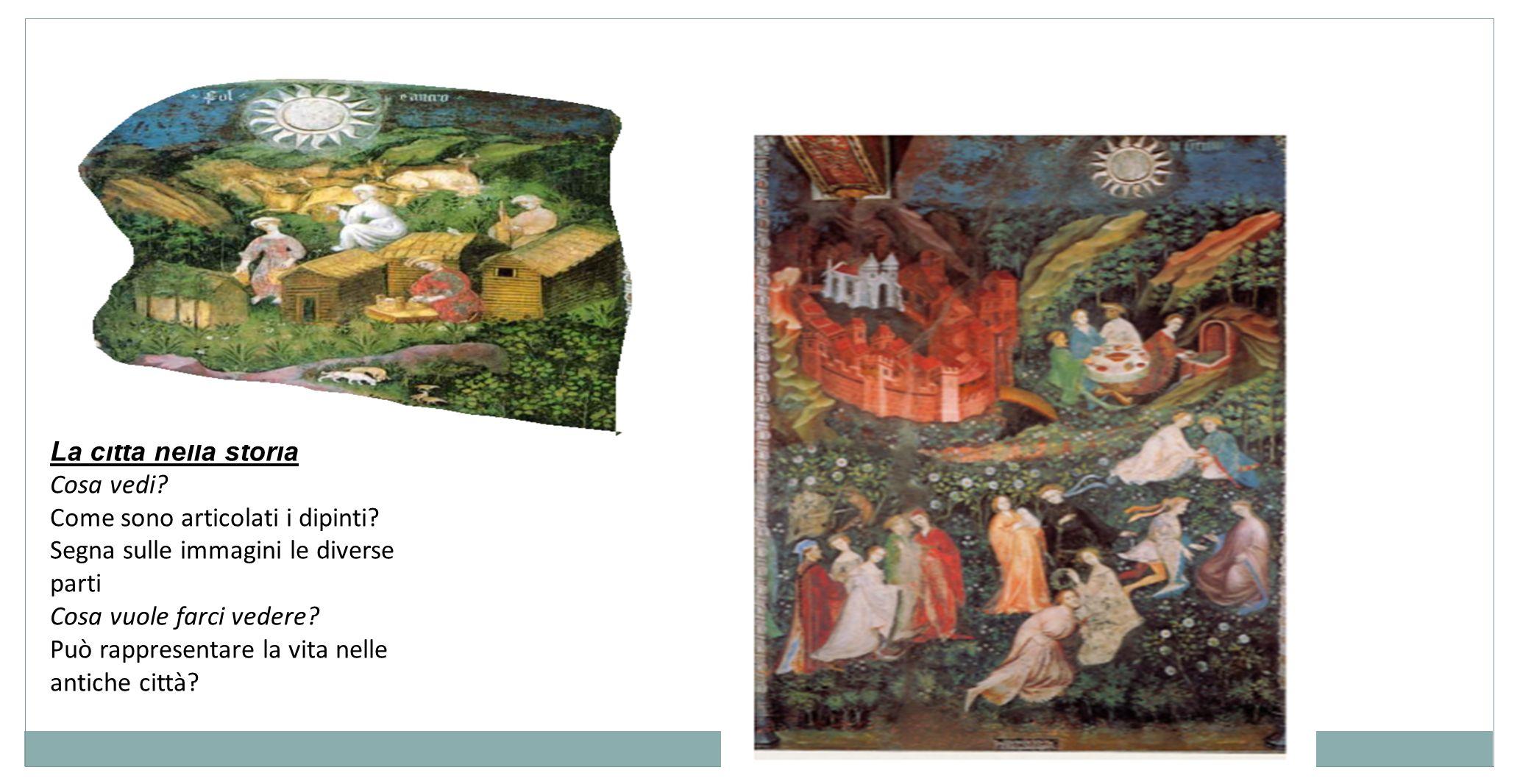 La città nella storia Cosa vedi Come sono articolati i dipinti Segna sulle immagini le diverse parti.