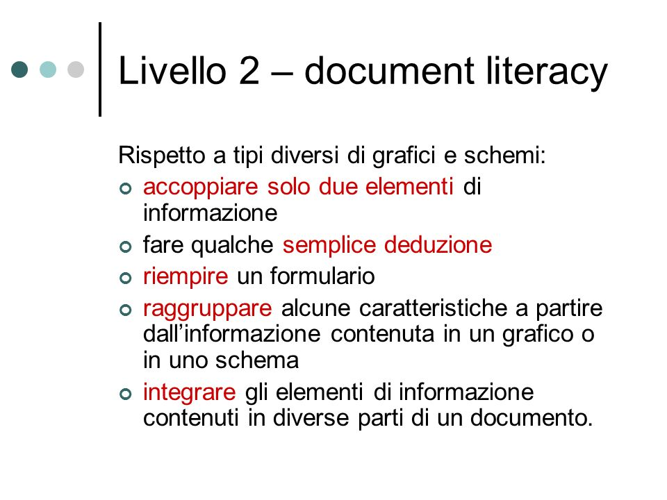 Livello 2 – document literacy