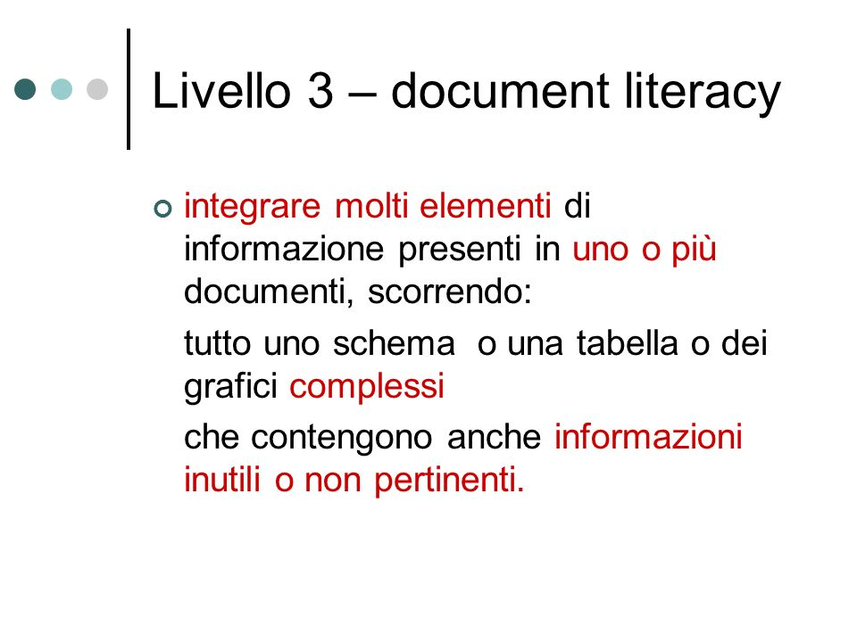 Livello 3 – document literacy