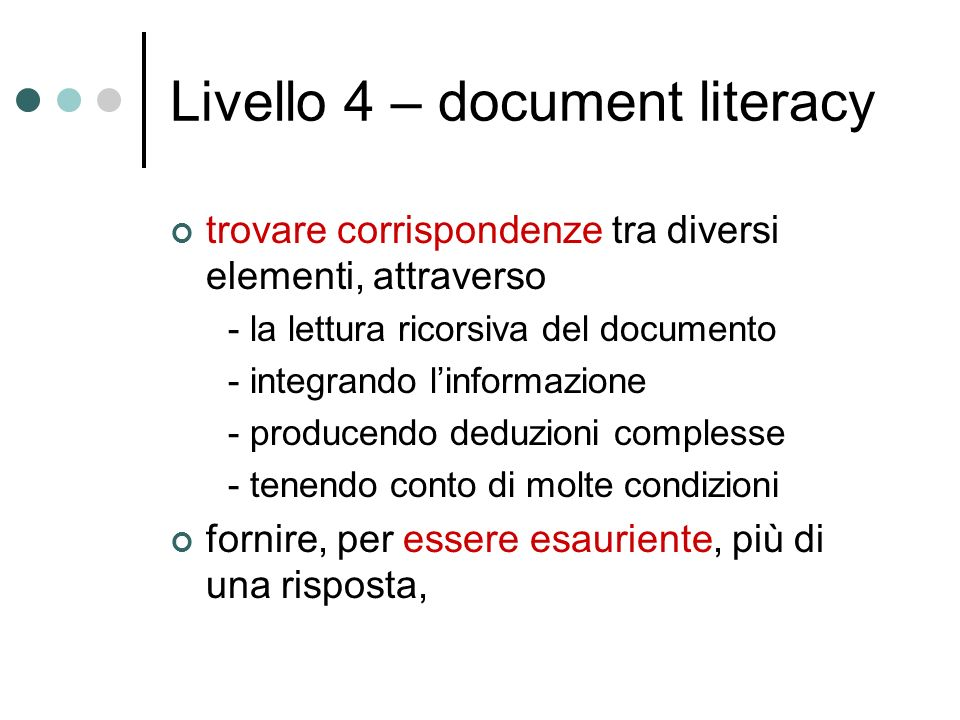 Livello 4 – document literacy