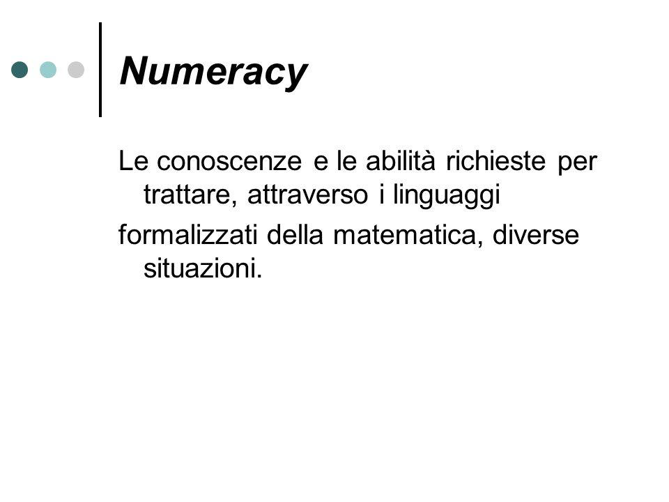 Numeracy Le conoscenze e le abilità richieste per trattare, attraverso i linguaggi.
