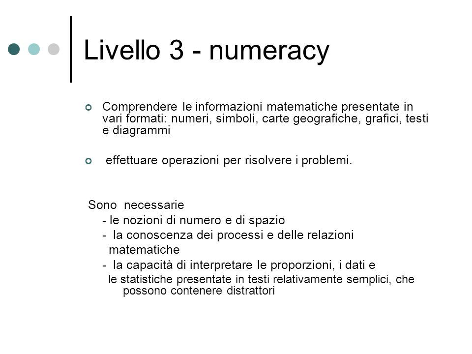 Livello 3 - numeracy