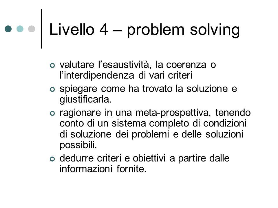 Livello 4 – problem solving