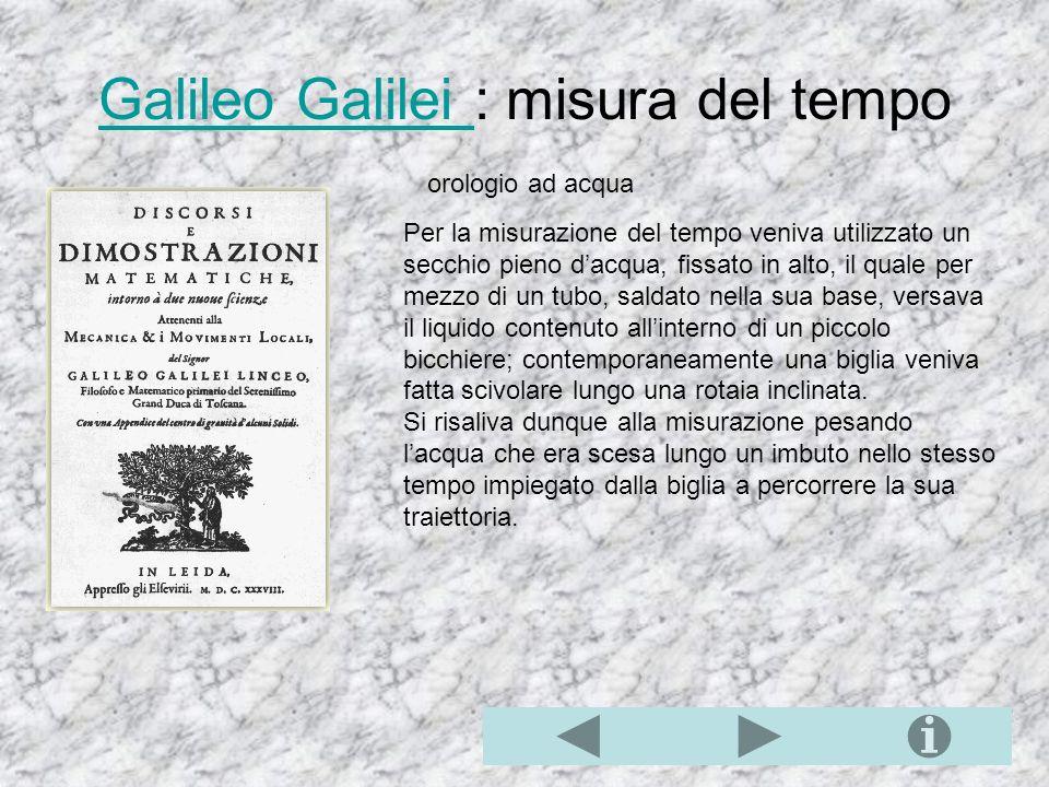 Galileo Galilei : misura del tempo