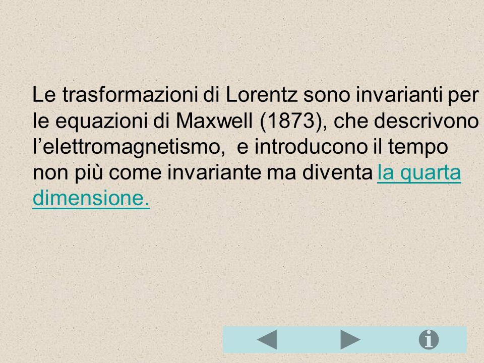Le trasformazioni di Lorentz sono invarianti per le equazioni di Maxwell (1873), che descrivono l'elettromagnetismo, e introducono il tempo non più come invariante ma diventa la quarta dimensione.