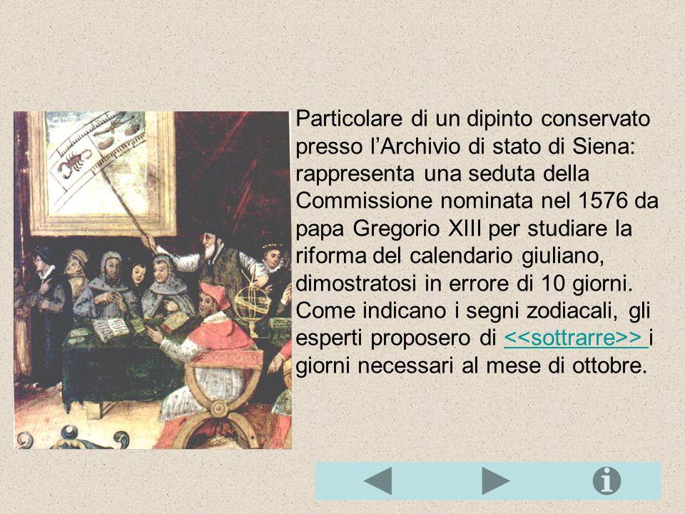 Particolare di un dipinto conservato presso l'Archivio di stato di Siena: rappresenta una seduta della Commissione nominata nel 1576 da papa Gregorio XIII per studiare la riforma del calendario giuliano, dimostratosi in errore di 10 giorni.