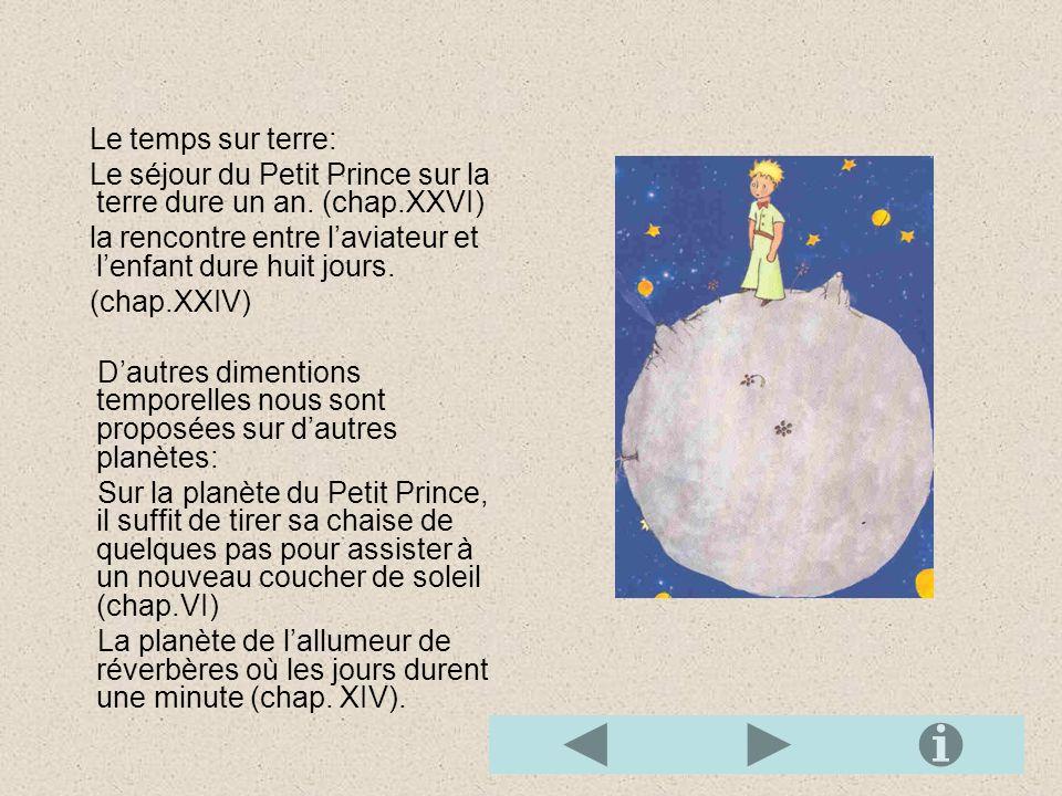 Le temps sur terre: Le séjour du Petit Prince sur la terre dure un an. (chap.XXVI) la rencontre entre l'aviateur et l'enfant dure huit jours.
