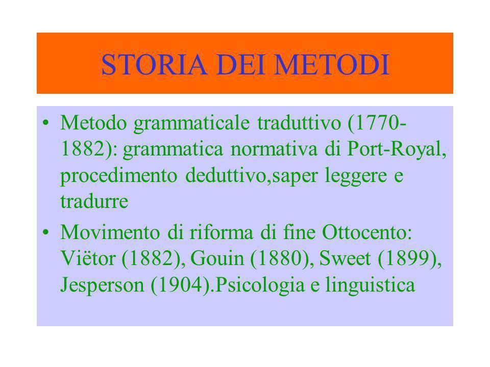 STORIA DEI METODI Metodo grammaticale traduttivo (1770-1882): grammatica normativa di Port-Royal, procedimento deduttivo,saper leggere e tradurre.