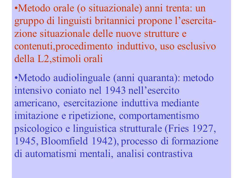 Metodo orale (o situazionale) anni trenta: un