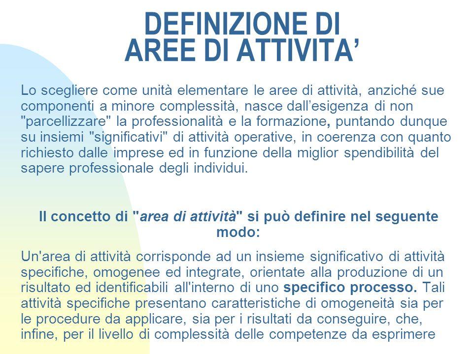 DEFINIZIONE DI AREE DI ATTIVITA'
