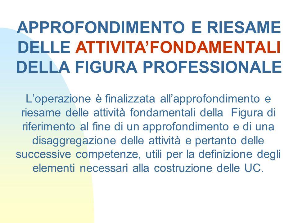 APPROFONDIMENTO E RIESAME DELLE ATTIVITA'FONDAMENTALI DELLA FIGURA PROFESSIONALE