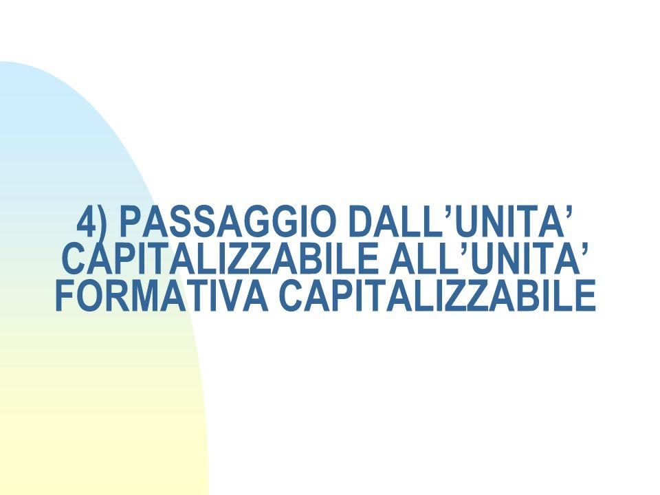 4) PASSAGGIO DALL'UNITA' CAPITALIZZABILE ALL'UNITA' FORMATIVA CAPITALIZZABILE