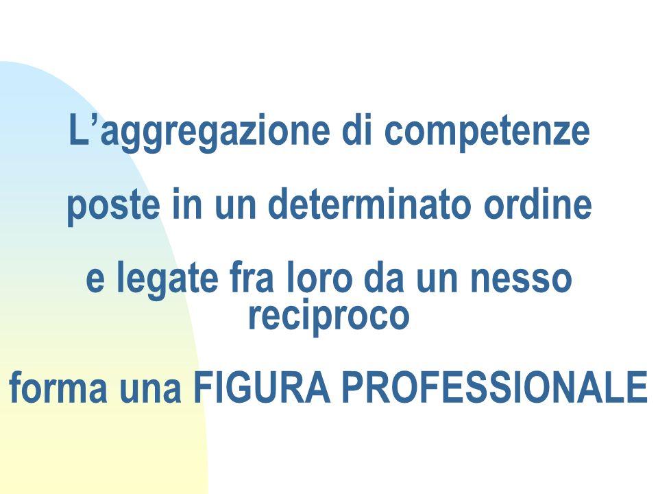 L'aggregazione di competenze poste in un determinato ordine e legate fra loro da un nesso reciproco forma una FIGURA PROFESSIONALE