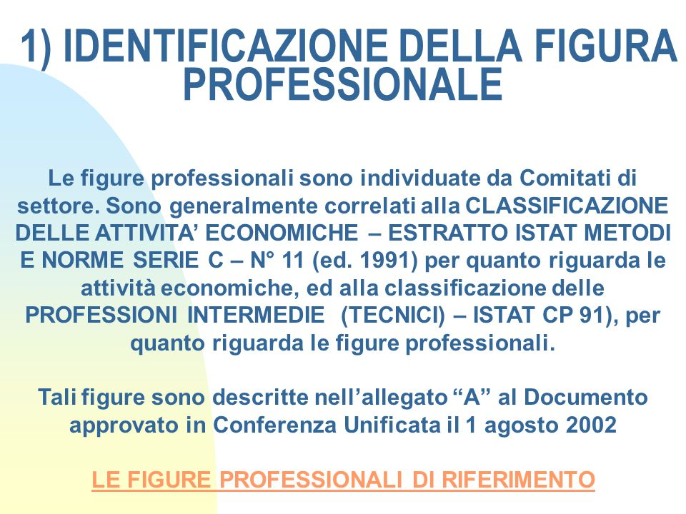 1) IDENTIFICAZIONE DELLA FIGURA PROFESSIONALE